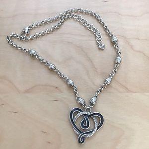Brighton Black/Silver Heart Necklace